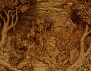 pictorial relief scene of a house built above a wooded canyon