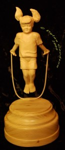 Girl jumping rope carved by dylan goodson
