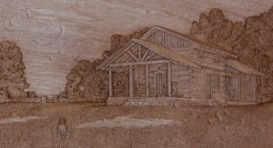 close up of dylan goodson's carving of Monty's cabin