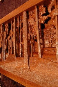 Close up of the right side of Dylan Goodson's Homestead carving