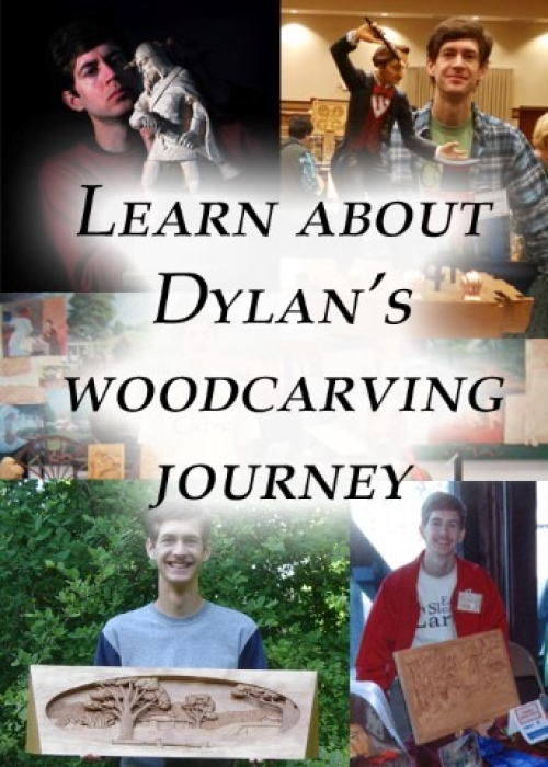 Photo collage of Dylan at different woodcarving shows.  Clicking on this image will take you to the About Dylan page.