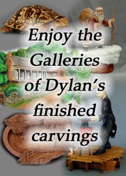 Photo collage of Dylan Goodson's finished woodcarvings.  Clicking on this image will take you to the Gallery page.