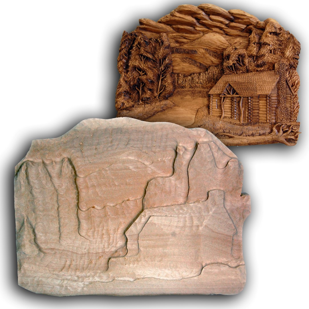 Northwoods cabin roughout wood carvings by dylan goodson