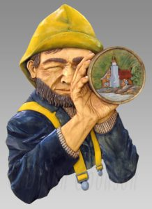 Relief carving of a fisherman or seafaring looking through a spyglass. Reflected in the spyglass lenses is a lighthouse