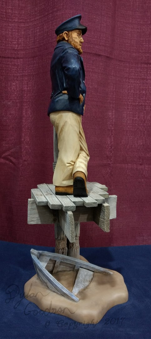 Sea captain finished large wood carvings by dylan